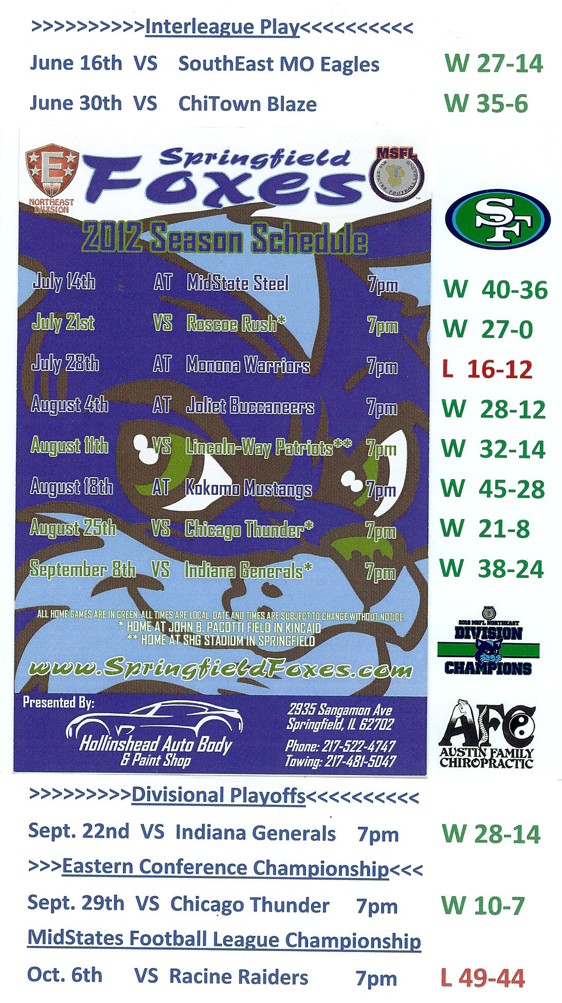 Your 2012 MSFL Eastern Conference Champion Springfield Foxes 2012 Schedule with scores.  11-2 isn't too shabby!