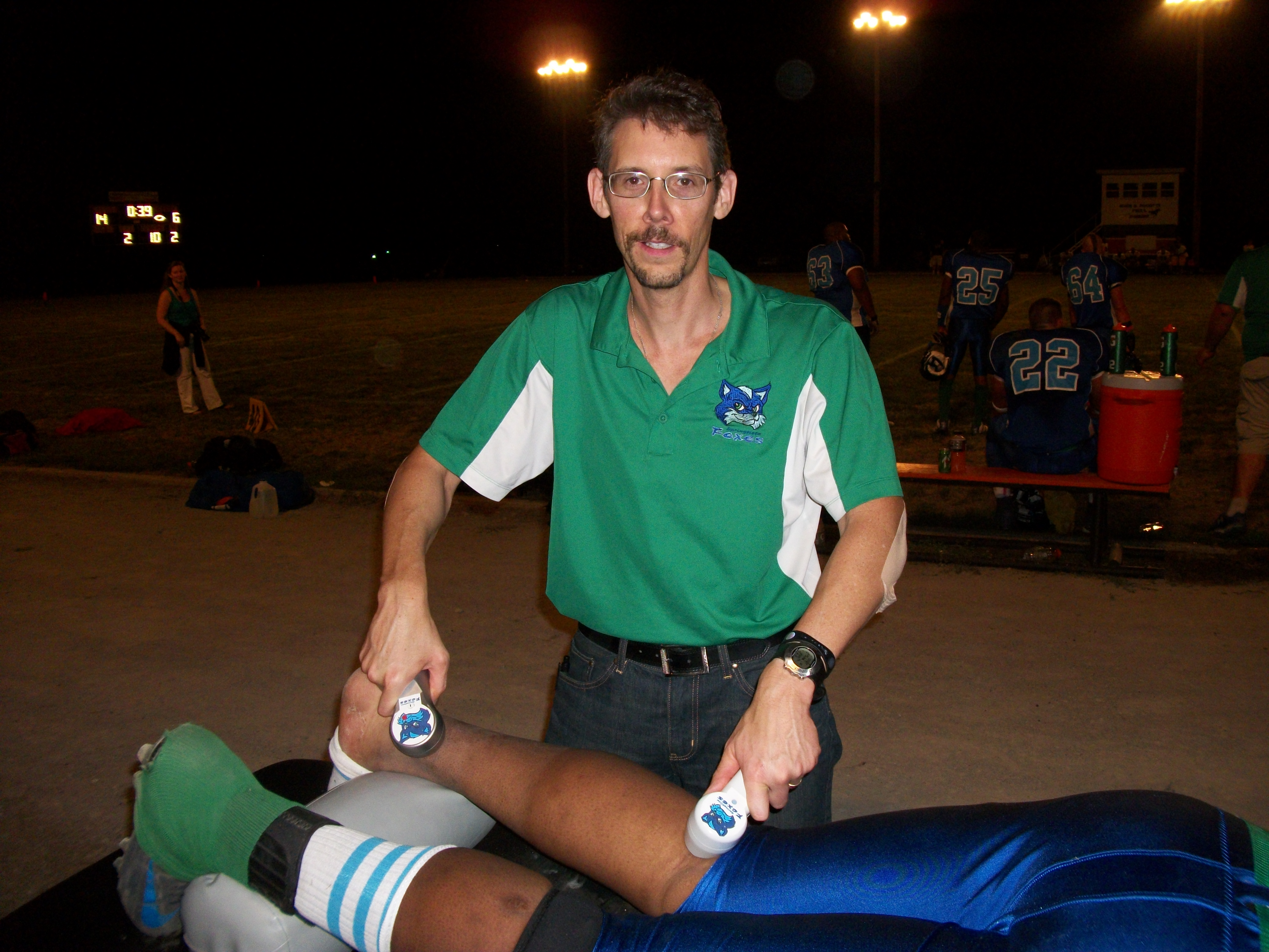 Dr. Austin, team D.C. and team trainer, utilizes two of his custom Springfield Foxes cold laser therapy devices (including his new PainBeGone Laser) on a player's Achilles injury.  Both laser devices have a depth of penetration of 5 cm.  Both are outstanding when it comes to reducing pain, swelling, inflammation and edema.