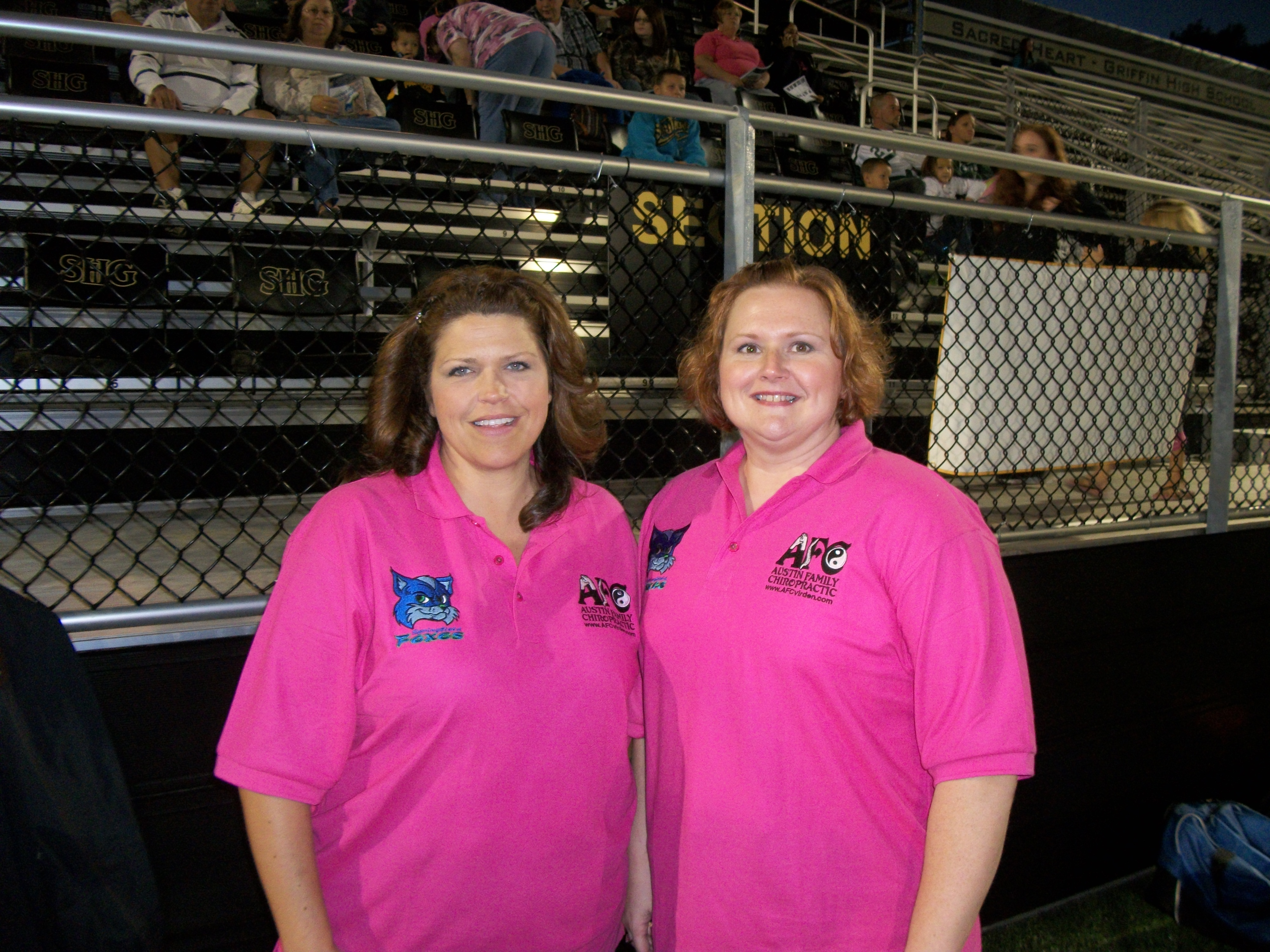 Nina and Gena, my 2 assistant trainers for the Foxes 2012 Breast Cancer Awareness Game.