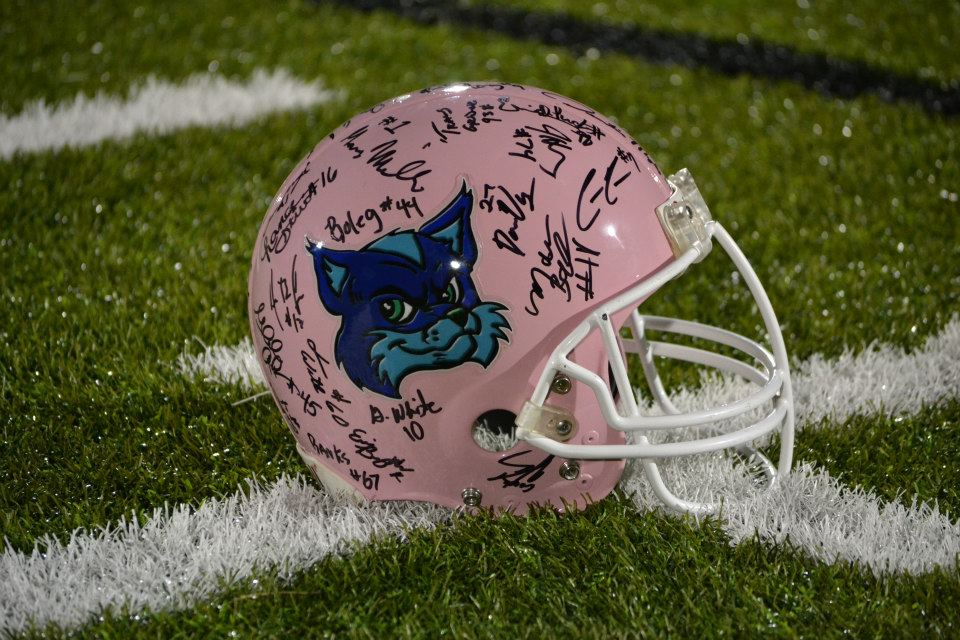 This Foxes pink helmet was raffled off on BREAST CANCER AWARENESS NIGHT.