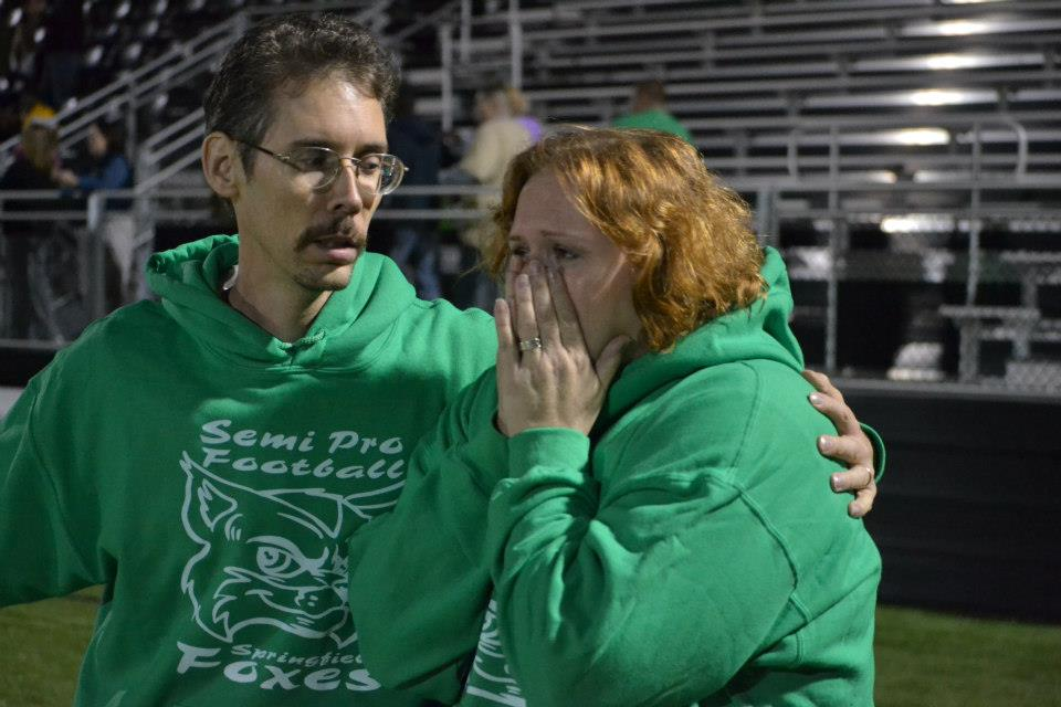 Dr. Todd Austin consoled his wife Eugena after the Foxes win their Conference.