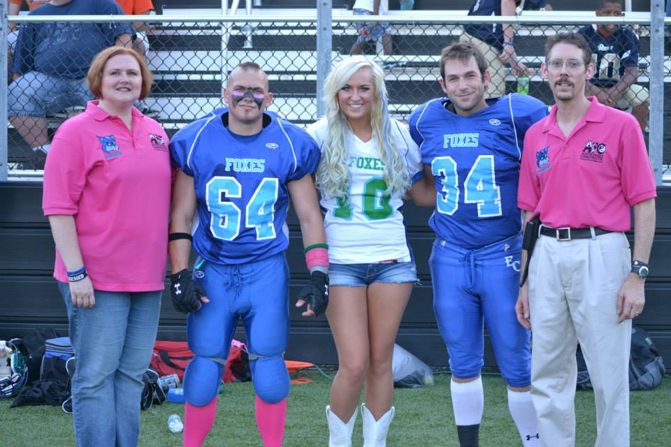 (From left) Team Massage Therapist Eugena Austin, L.M.T., #64 Brad Drew, Gracia Harrison, #34 Gareth Jenkins and Team Chiropractor Dr. Todd Austin, D.C. just prior to the Foxes victory over the Indiana Mustangs. Drew, Harrison & Jenkins are from Girard, while the Austins live in Virden.