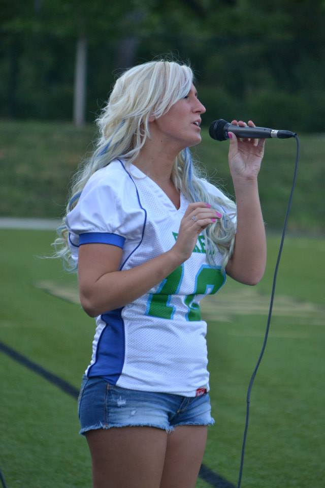 Gracia Harrison sings the national anthem at Springfield Foxes game - AFCvirden